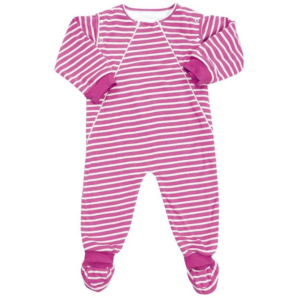 Pijama manta para bebés y niñas a rayas blancas y rosas de 2.5 Togs