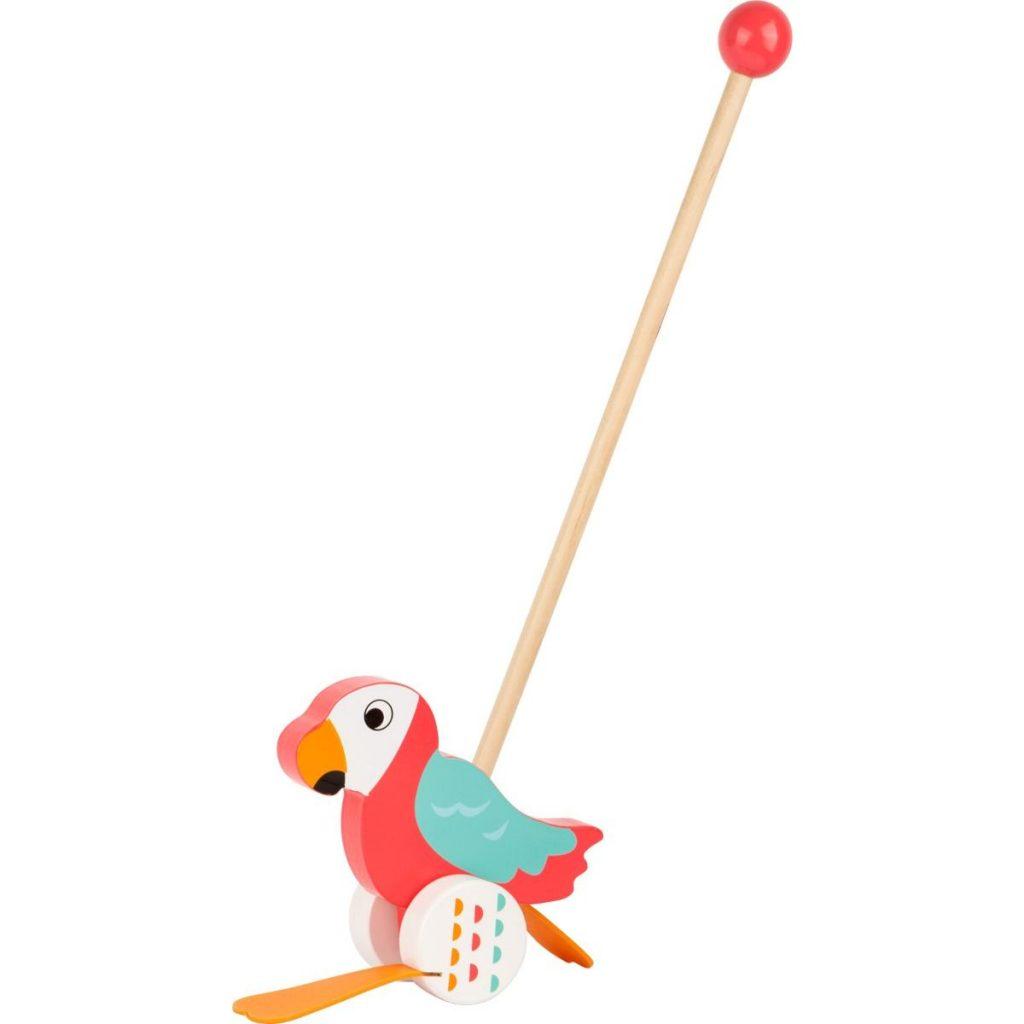 Papagayo Lori de madera para empujar