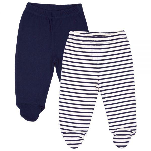 Pantalones de bebé con Pies Liso y Rayas Blancas. Pack de 2 Ud.