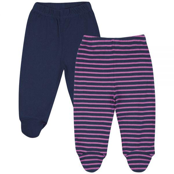 Pantalones de bebé con Pies Liso y Rayas Rosas. Pack de 2 Ud.