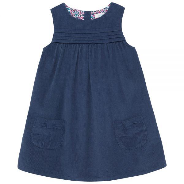 Vestido Pana de Niña - Azul China