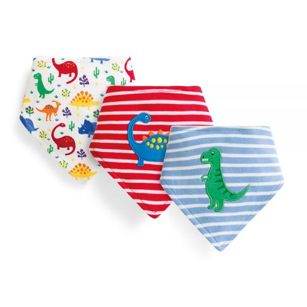 Baberos Quita-Babas Dinosaurios.  Pack de 3 Ud.