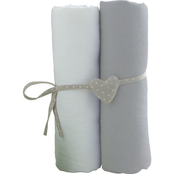 Sábanas Bajeras para Cuna de 60 x 120 cm - Blanco/Gris - Pack de 2 ud