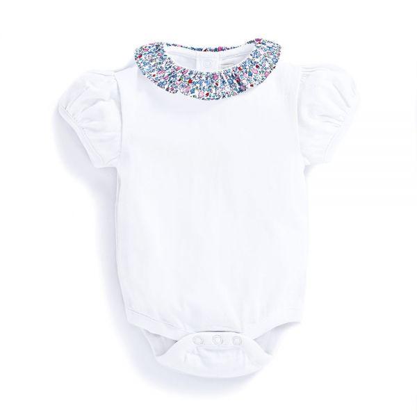 Body Bebé Blanco Cuello Collar Flores