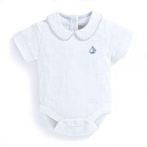 Body Bebé Blanco Cuello Peter Pan