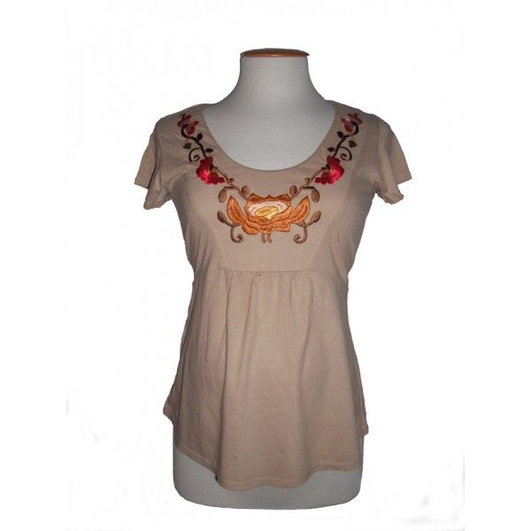 Camiseta Premamá Flores Bordadas