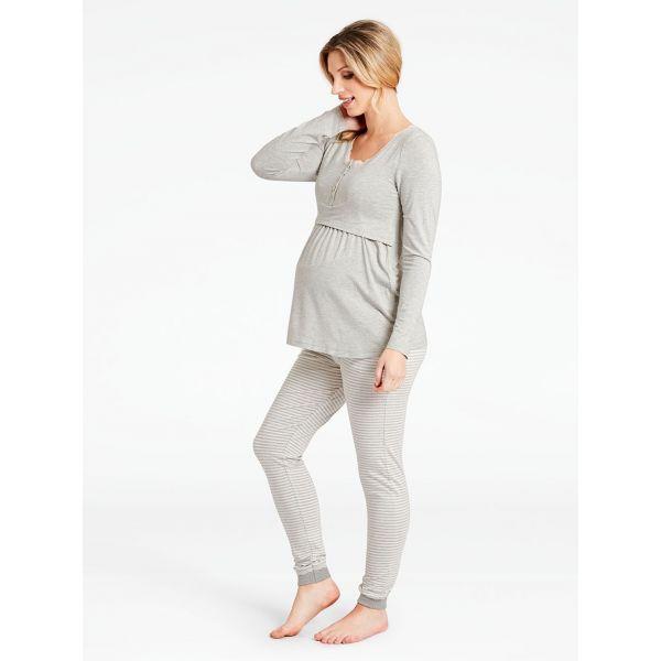Camiseta Pijama Premamá Manga Larga Gris