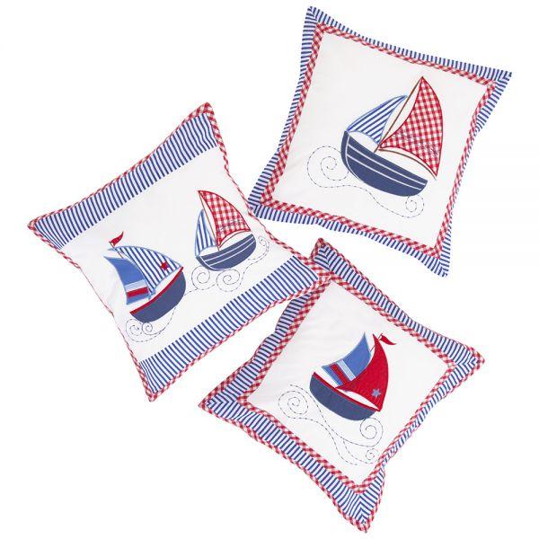 Lote de 3 Cojines Infantiles en Color Azul con Estampado Náutico