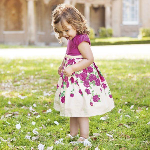 Vestido de Fiesta Niña Rosas Frambuesa