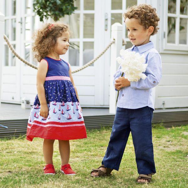 Vestido de Fiesta para Niñas - Estampado Marinero