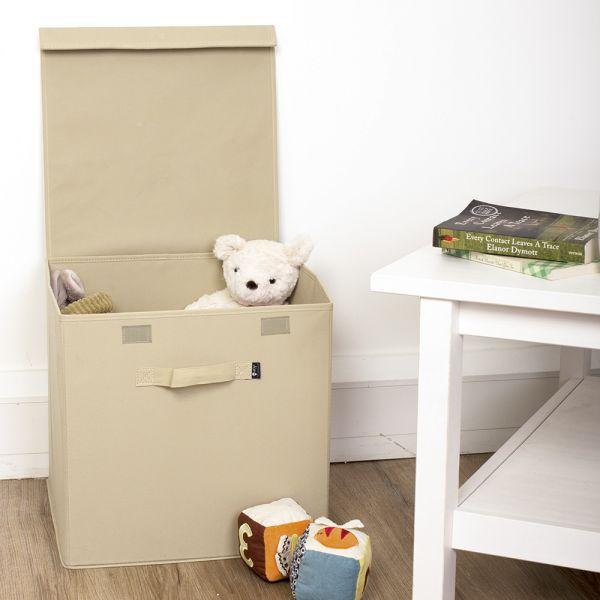 Caja Plegable de Tela para guardar juguetes con Tapa color Natural