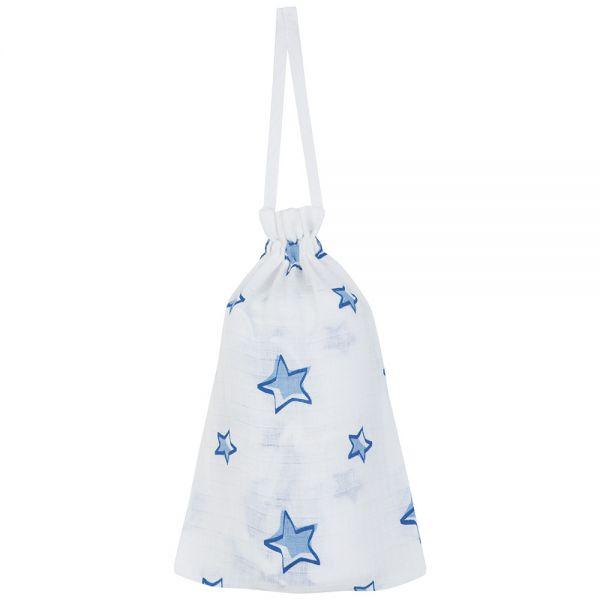 Muselina Grande con Estampado Estrellas Azules