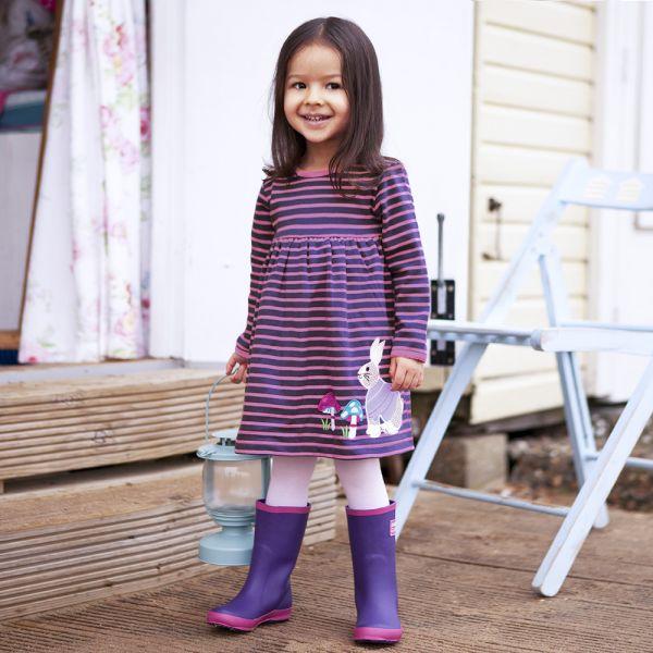 Vestido de Niña de Algodón - Pequeño Conejito