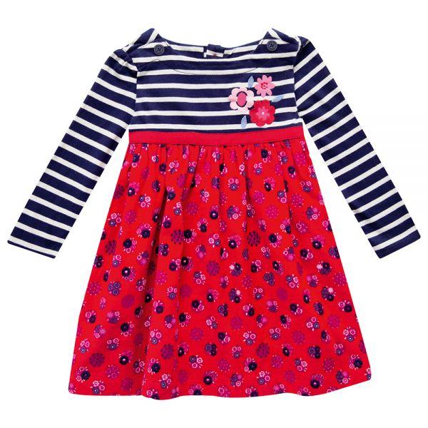 Vestido de Niña de Pana y Algodón color Rojo