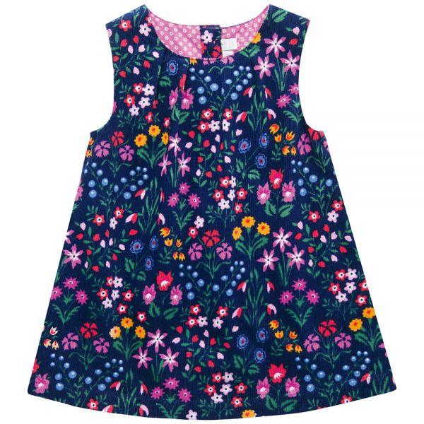 Vestido de Niña de Pana con estampado de Flores Botánicas