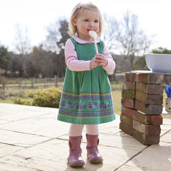Vestido de Niña de Pana - Verde