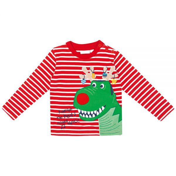 Camiseta Estampado Dinosaurio Navideño