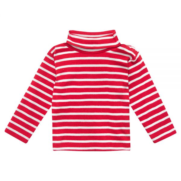 Polo Cuello Alto de Niño - Rayas Rojas