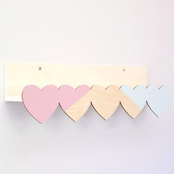 Estante Corazones de Madera Decoración Pared