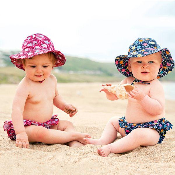 Sombrero con Protección Solar para Bebés y Niñas Navy