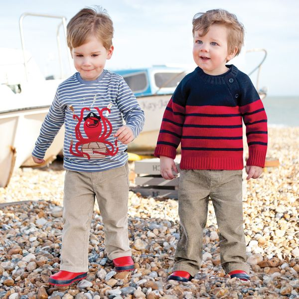 Jersey para Bebés y Niños de Lana en color Rojo y Navy