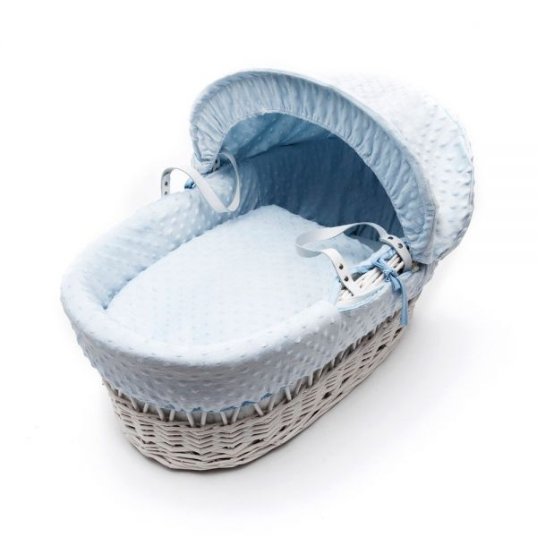 Kinder Valley White Wicker Basket vestiduras azules