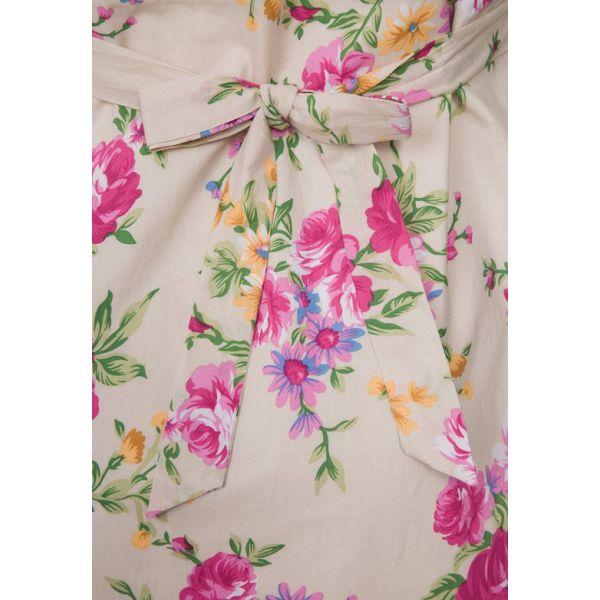 Vestido Premamá Estampado Rosas y Color Crema