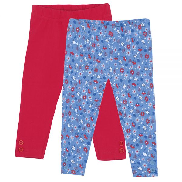 Leggins para NIñas Estampado Elefantes y Rojo- Pack de 2