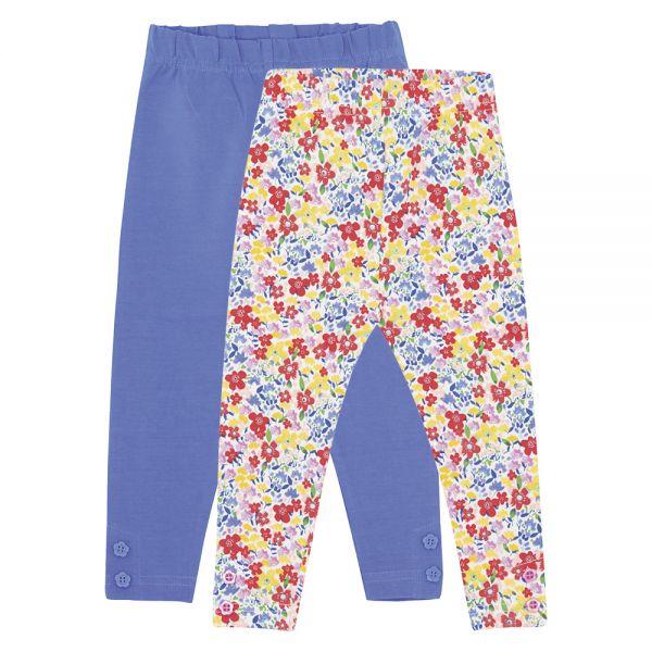 Leggins para NIñas Estampado Flores Azules- Pack de 2