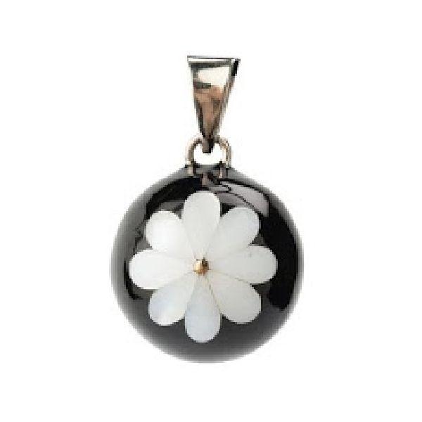 Llamador de Ángeles Negro Flor Blanca