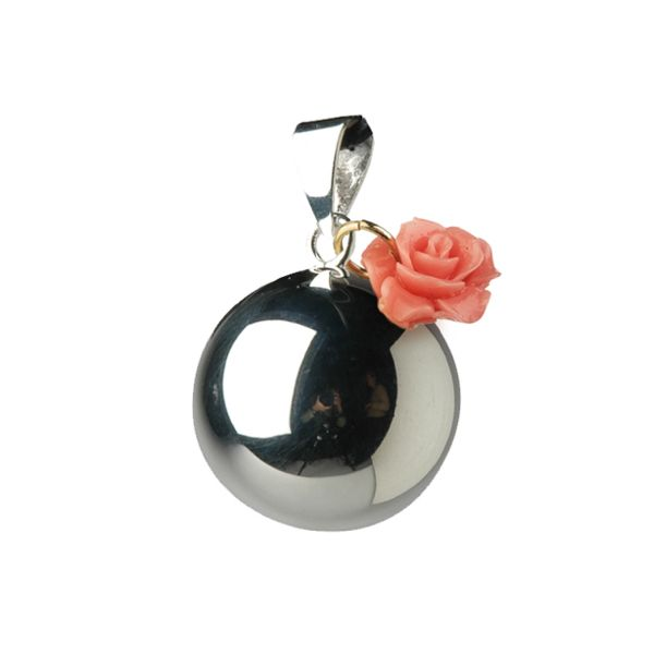 Llamador de Ángeles Plateado con Flor