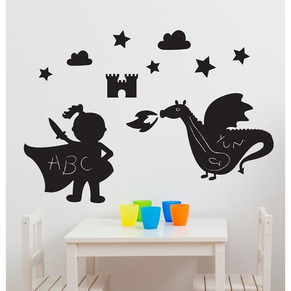 Vinilo Infantil Pizarra Dragones Mágicos