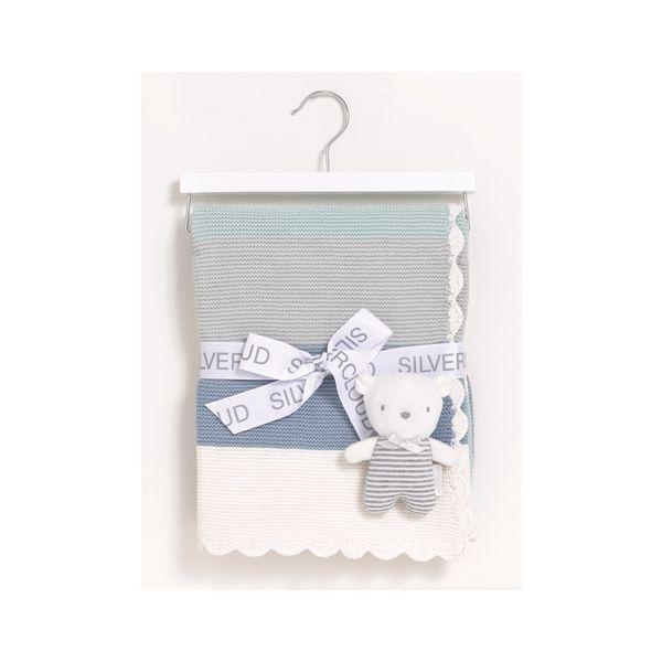 Manta y Peluche, Set de Regalo Silvercloud color azul