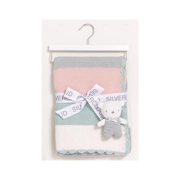 Manta y Peluche, Set de Regalo Silvercloud color rosa
