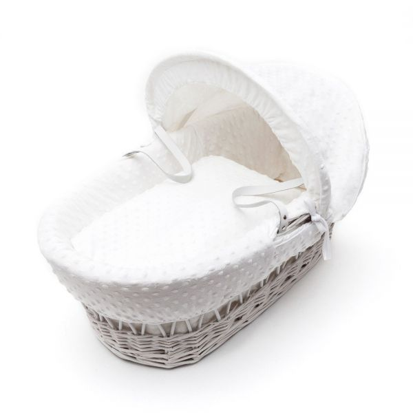Kinder Valley White Wicker Basket vestiduras blancas