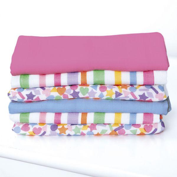 Muselinas de Colores Confeti. Pack de 6 unidades