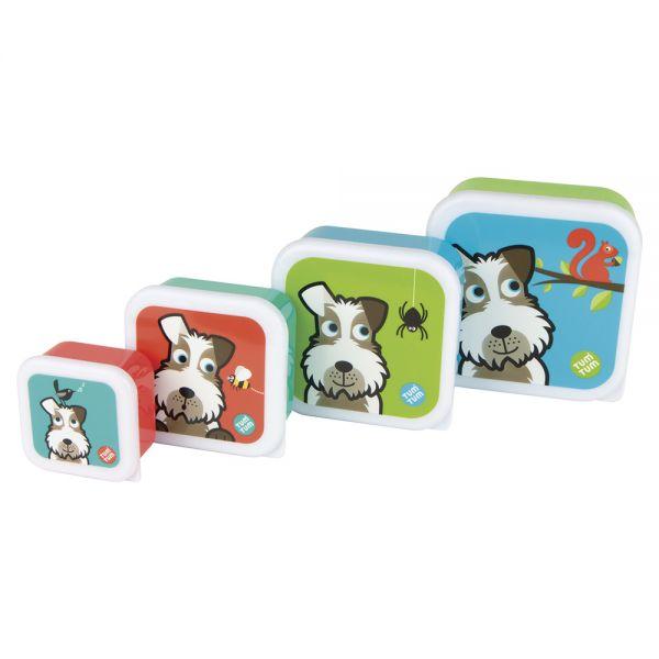 Pack de 4 Botes para Snacks de TumTum Diseño Perros