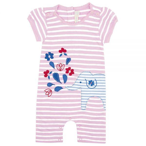Pelele para Bebés a Rayas Rosa y Blanco
