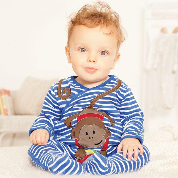 Pijama Bebé Mono a Rayas Azules