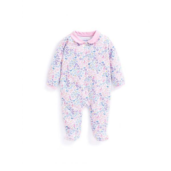 Pijama Bebe Floral Cuello Peter Pan