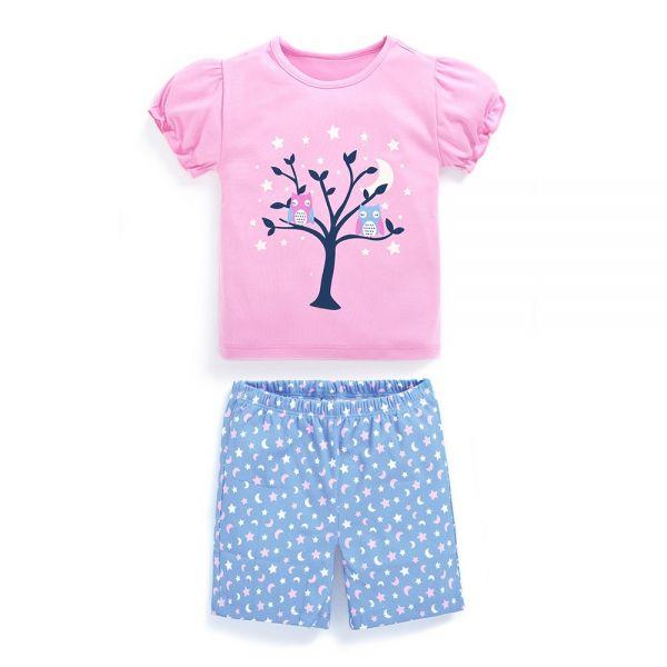 Pijama Corto de Niña Buhos - Brilla en la oscuridad