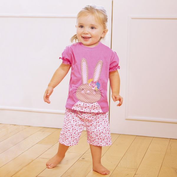 Pijama Corto de Niña en color Rosa Conejito