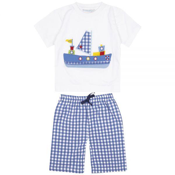 Pijama Corto de Niño Barco Azul