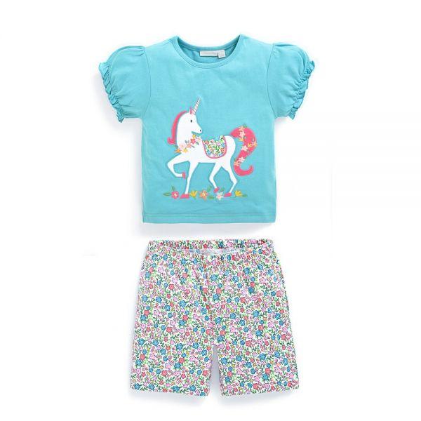 Pijama Corto para Niña Unicornio