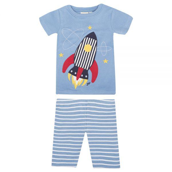 Pijama Corto Ajustado de Niño en color Azul Cohete
