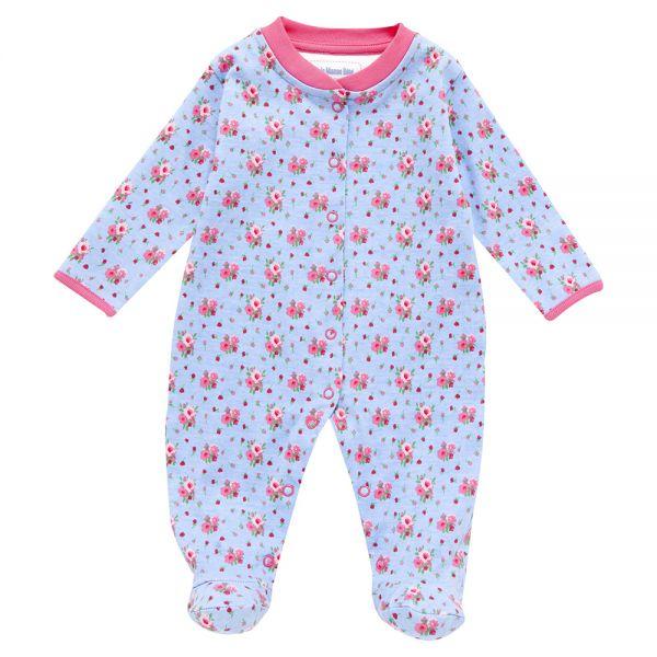 Pijama Bebé Estampado Azul Floral