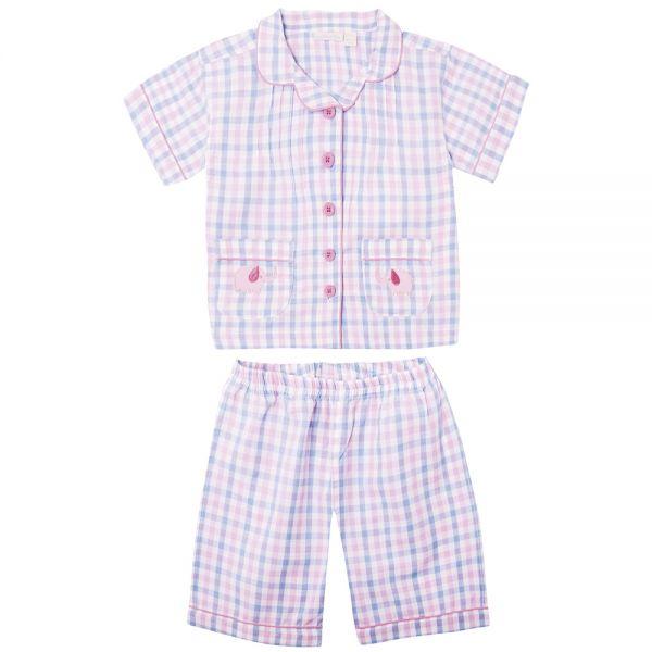 Pijama Corto de Niña a cuadros Rosas