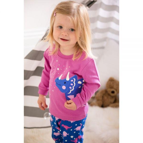 Pijama invierno Niña Dinosaurio  Brilla en Oscuridad