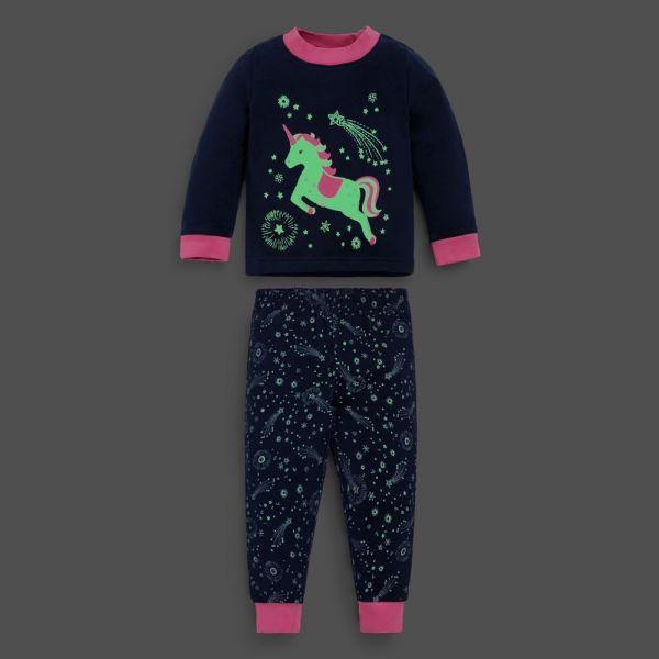 Pijama de invierno para Niña Unicornio - Brilla en la Oscuridad