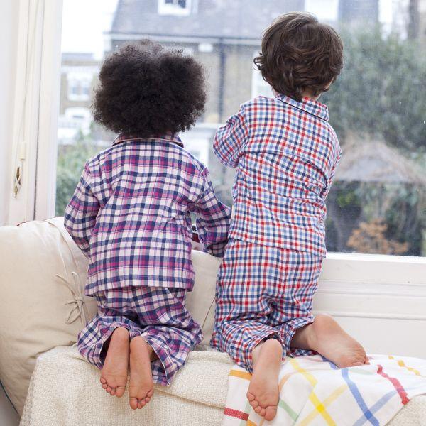 Pijama Largo de Niño a Cuadros Azules